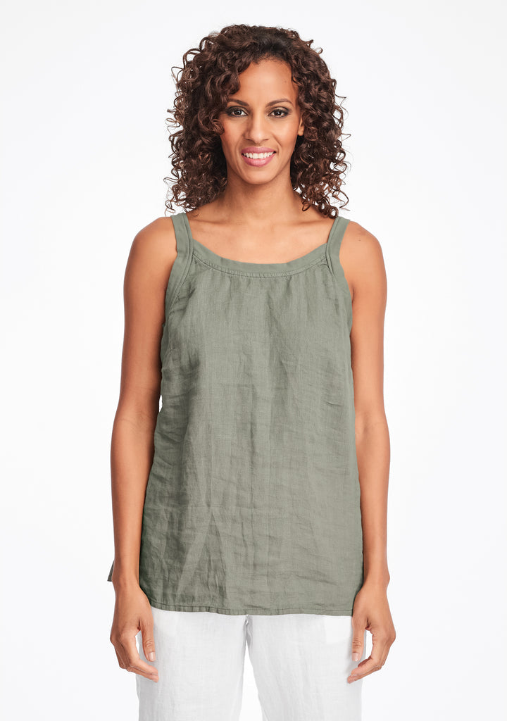 upward tunic linen tank top green