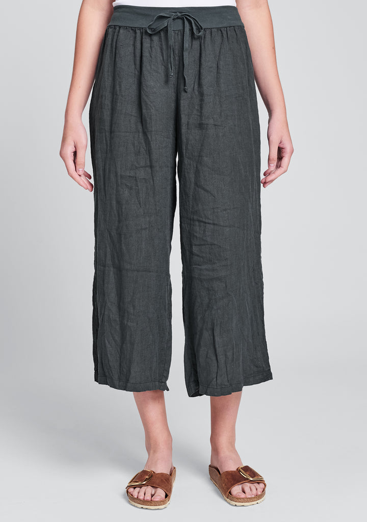 urban crop linen drawstring pants black