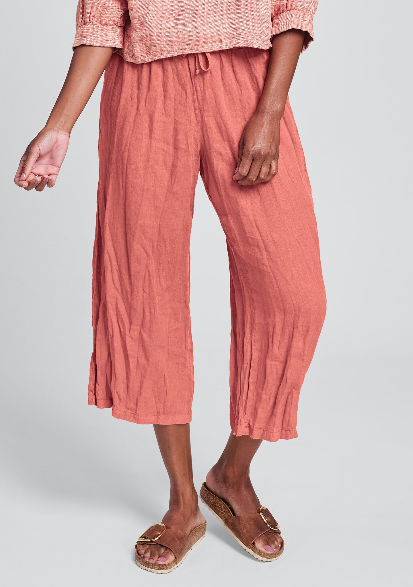 urban crop linen drawstring pants red