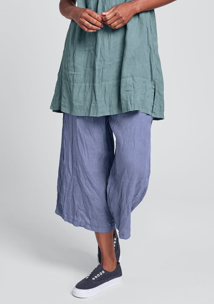 urban crop linen drawstring pants blue