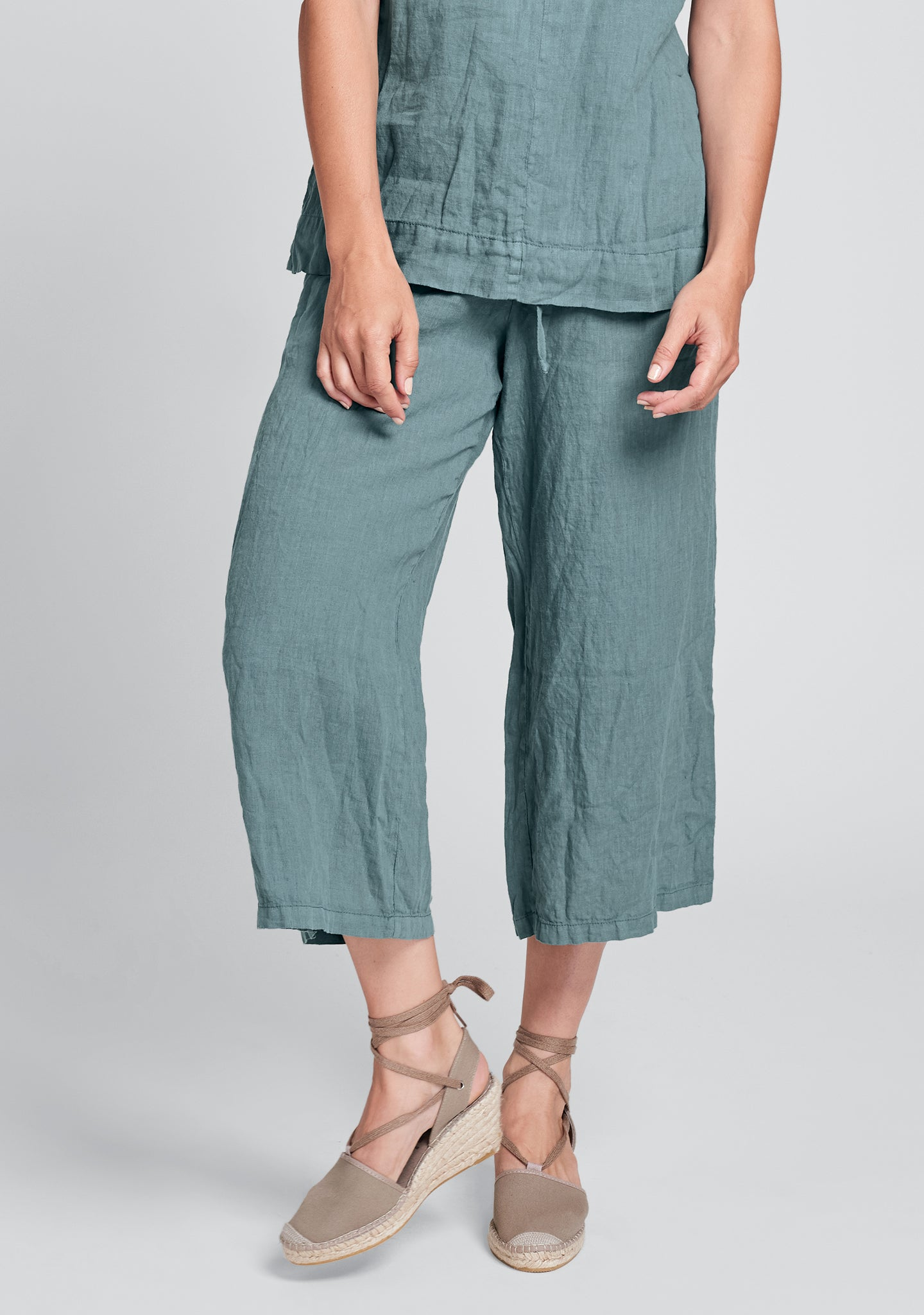 urban crop linen drawstring pants green