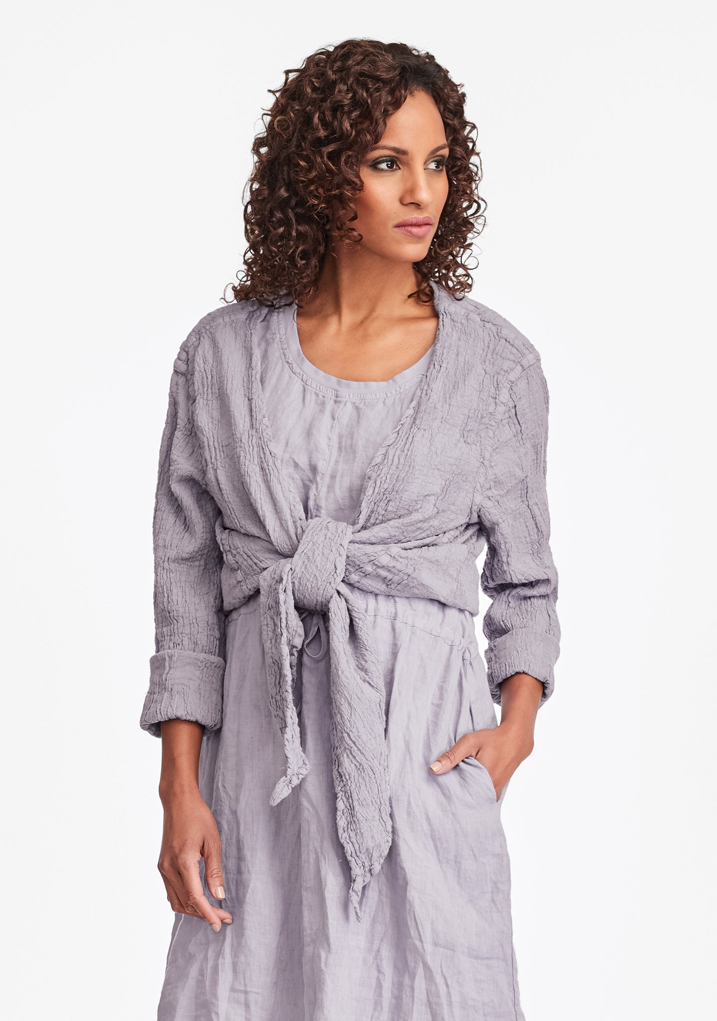 urban shrug linen cardigan purple