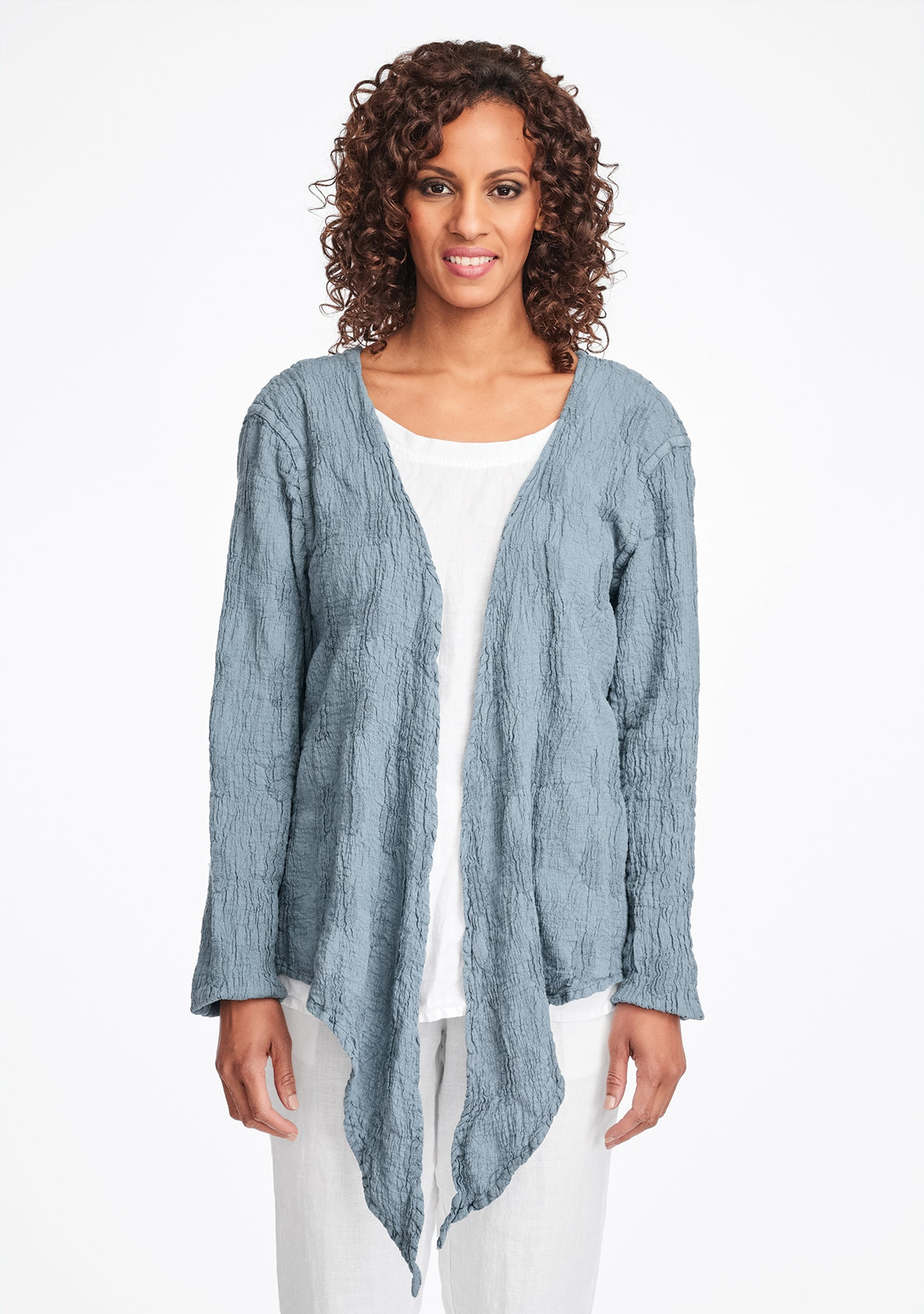 urban shrug linen cardigan blue