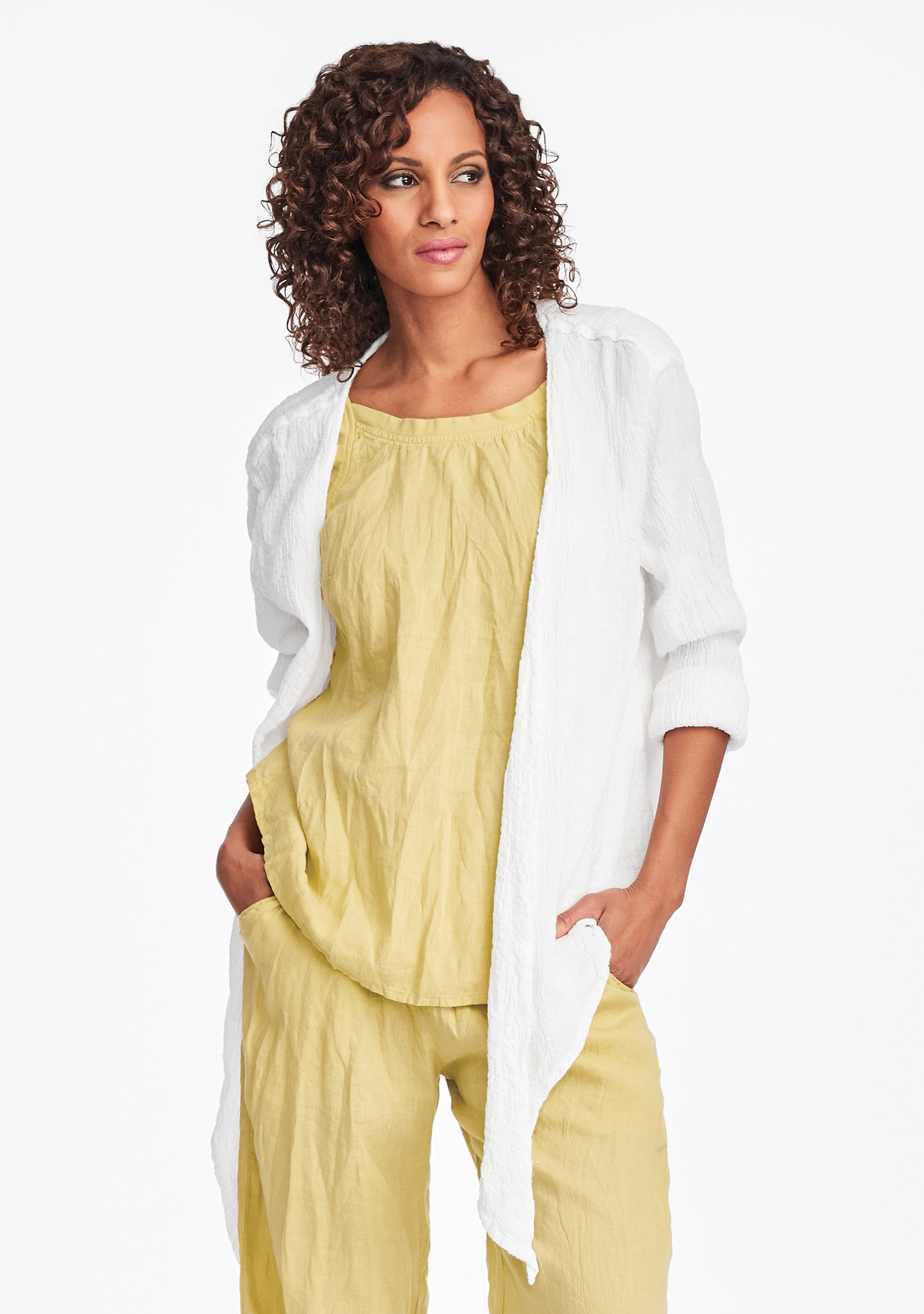 urban shrug linen cardigan white