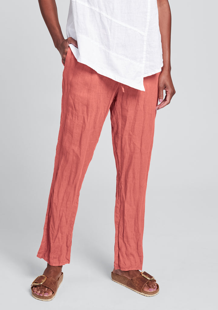 urban slims linen drawstring pants red