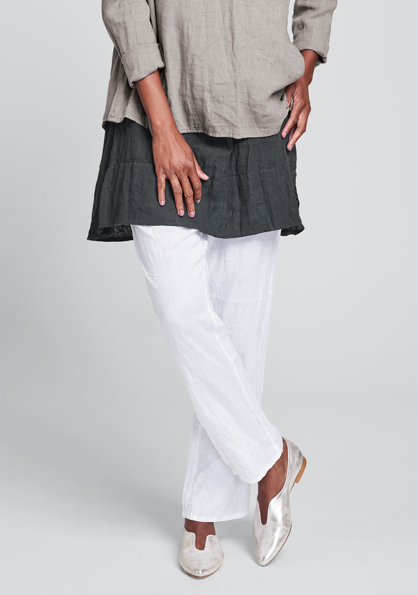 urban slims linen drawstring pants white
