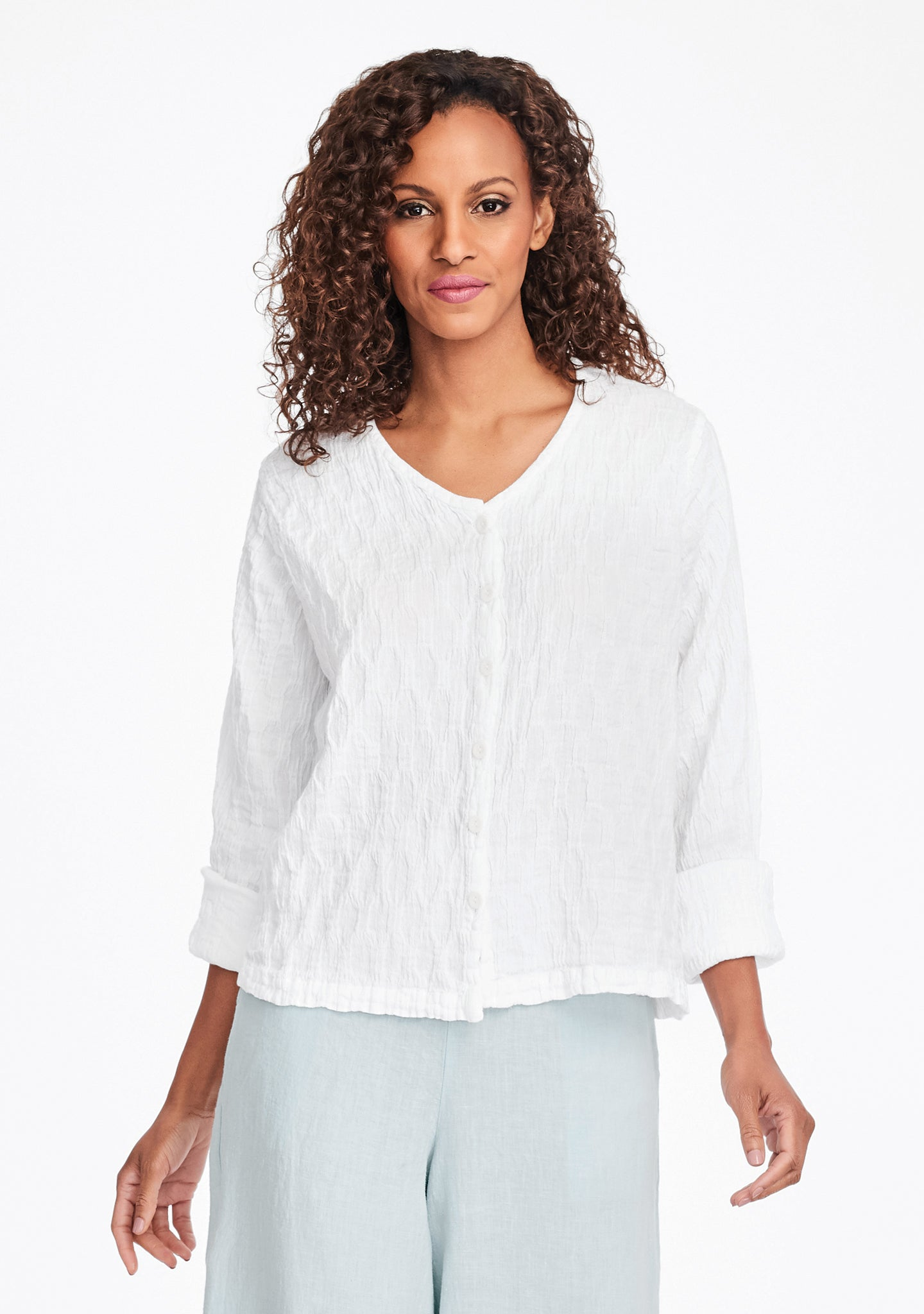 v neck cute cardi linen cardigan white