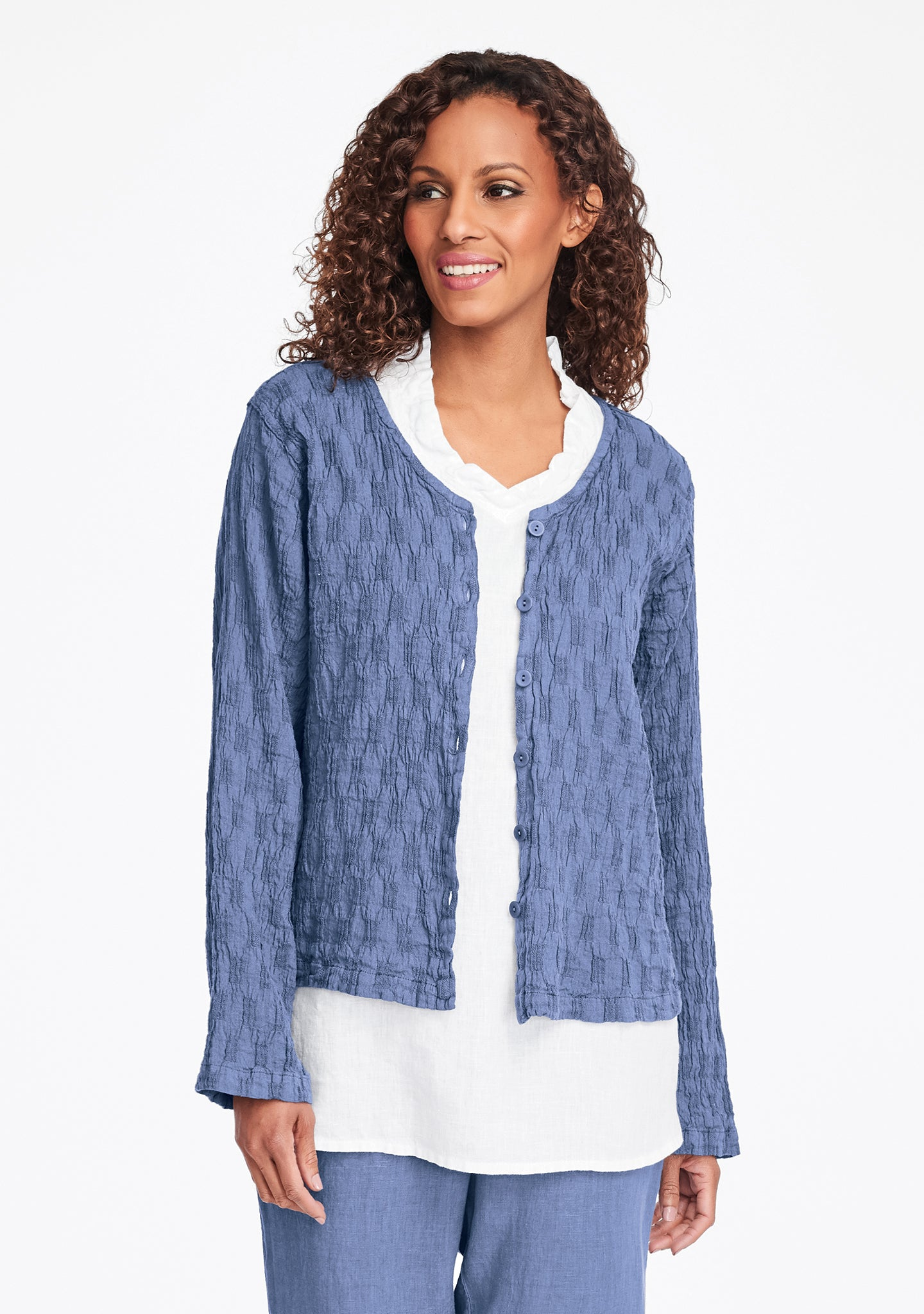 v neck cute cardi linen cardigan blue