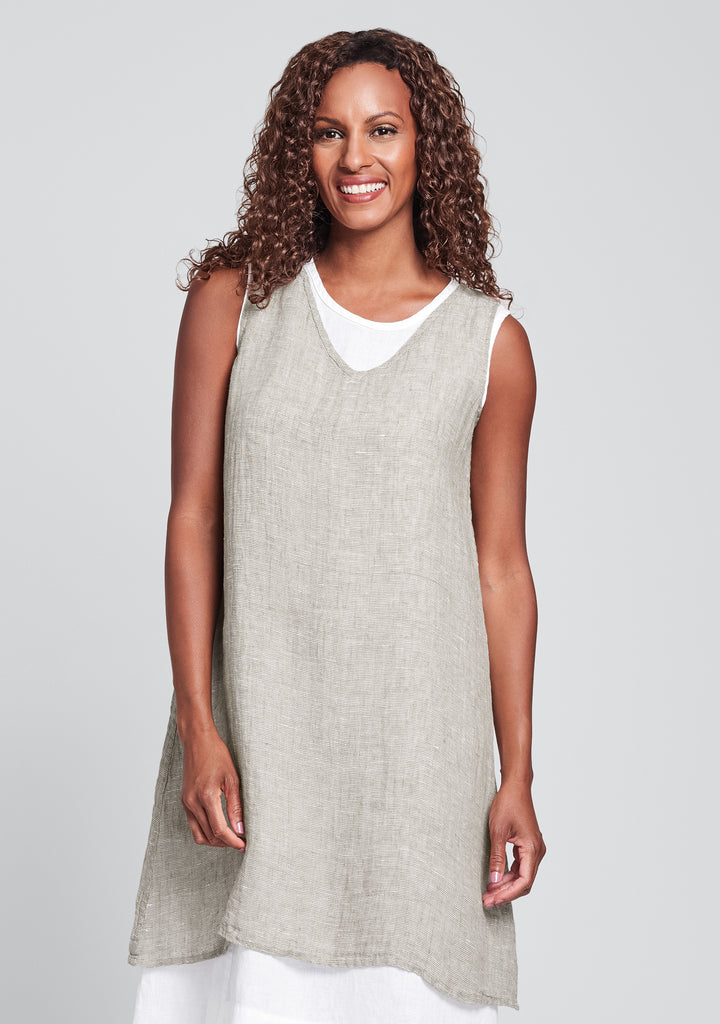 v-neck tunic linen tank top natural