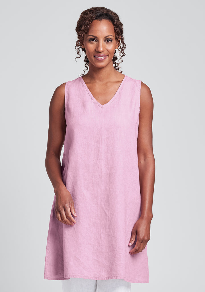 v-neck tunic linen tank top pink