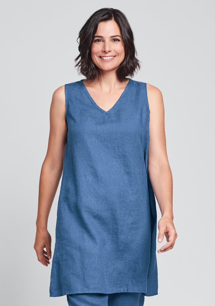 v-neck tunic linen tank top blue