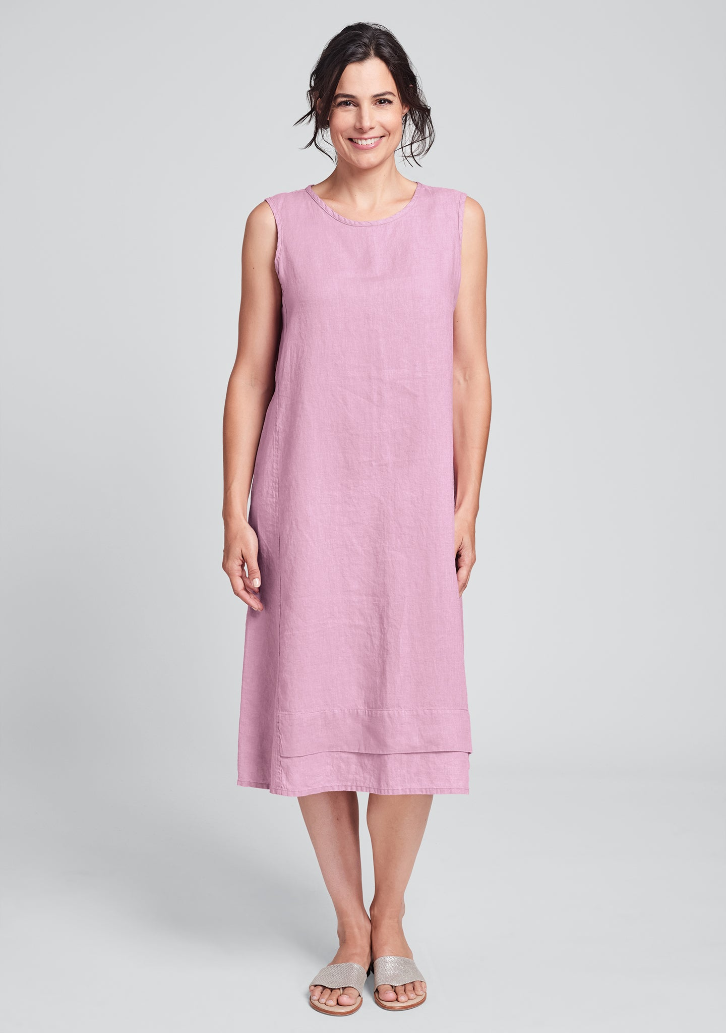 vancouver dress linen midi dress pink
