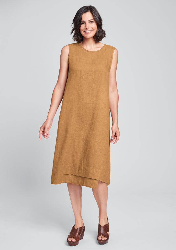 vancouver dress linen midi dress orange