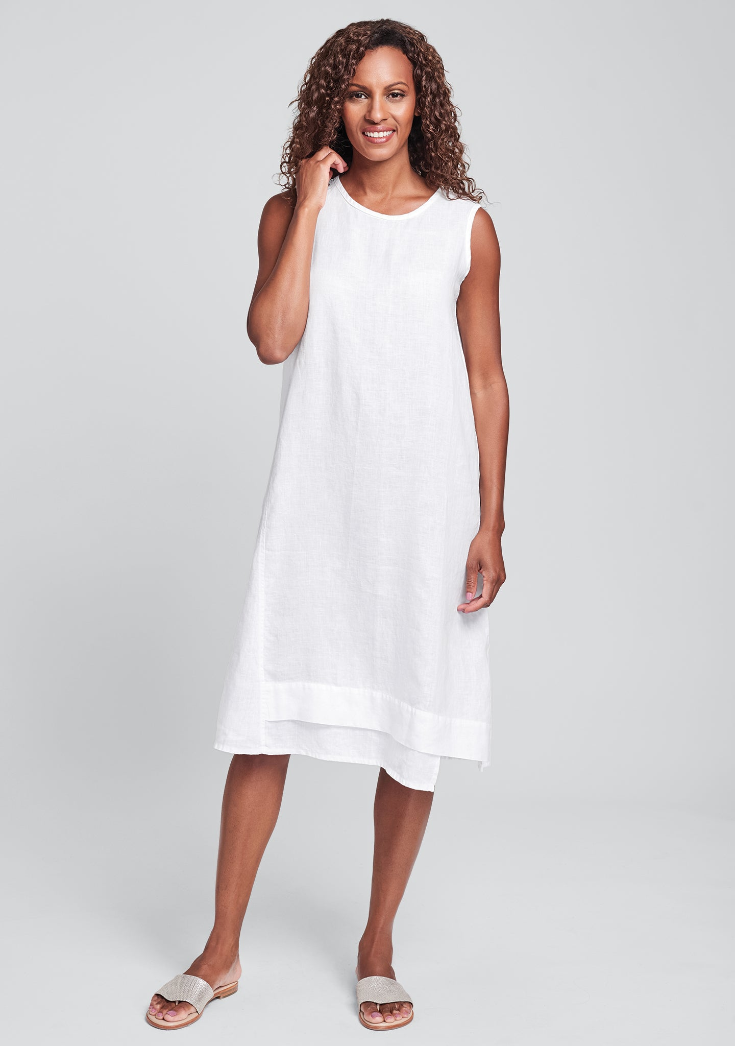 vancouver dress linen midi dress white