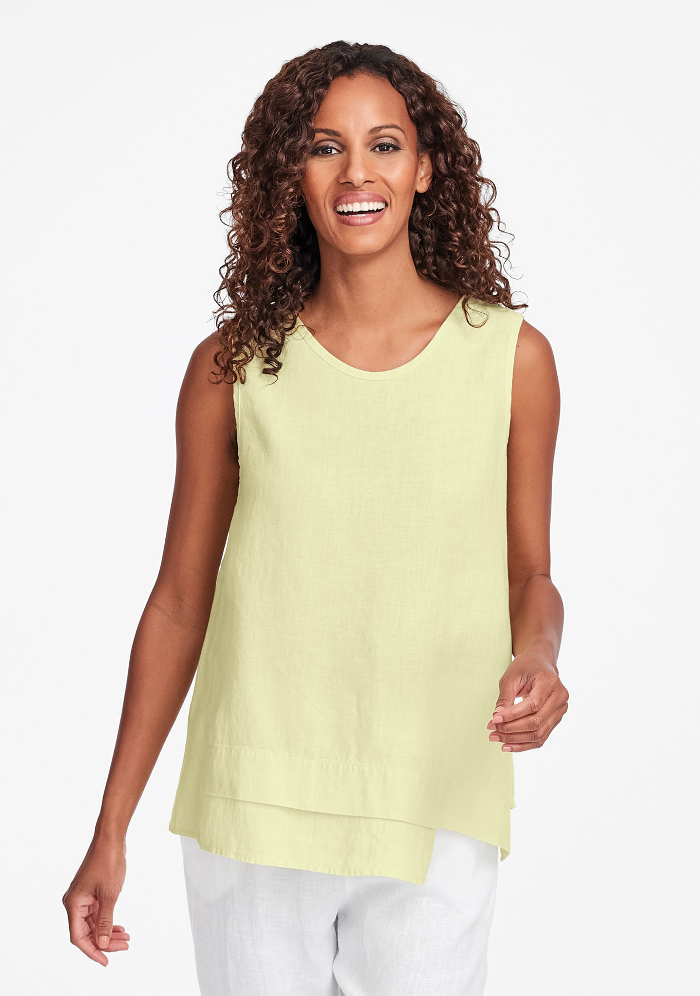 vancouver tank linen tank top yellow