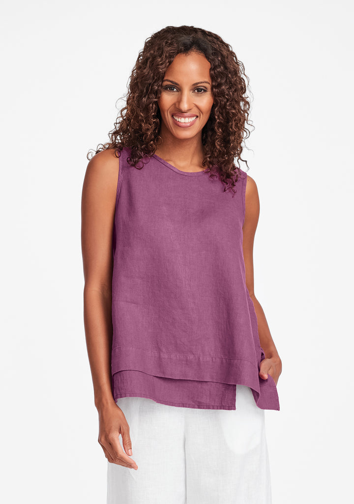 vancouver tank linen tank top purple