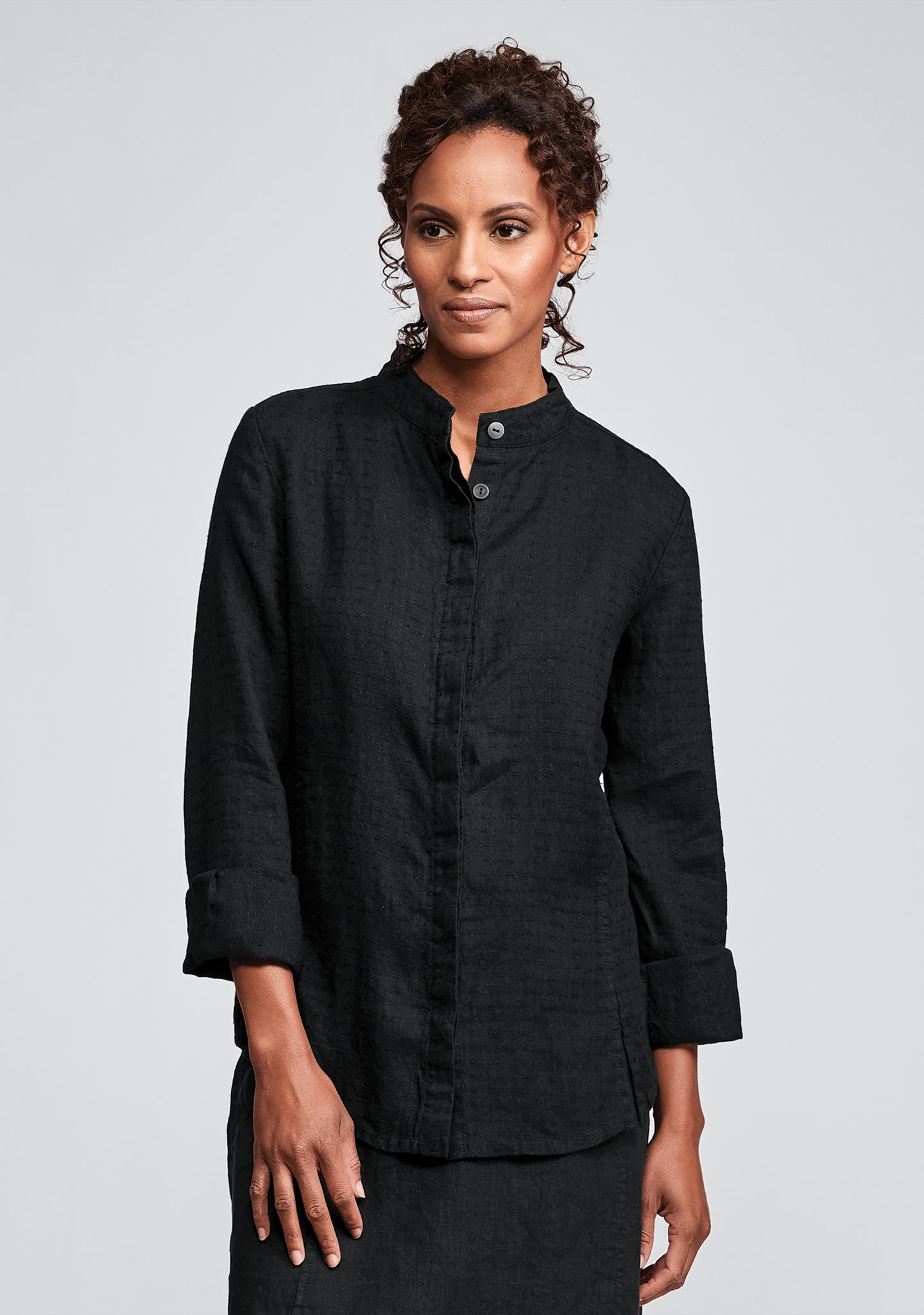 wear-with-all shirt linen button down shirt black