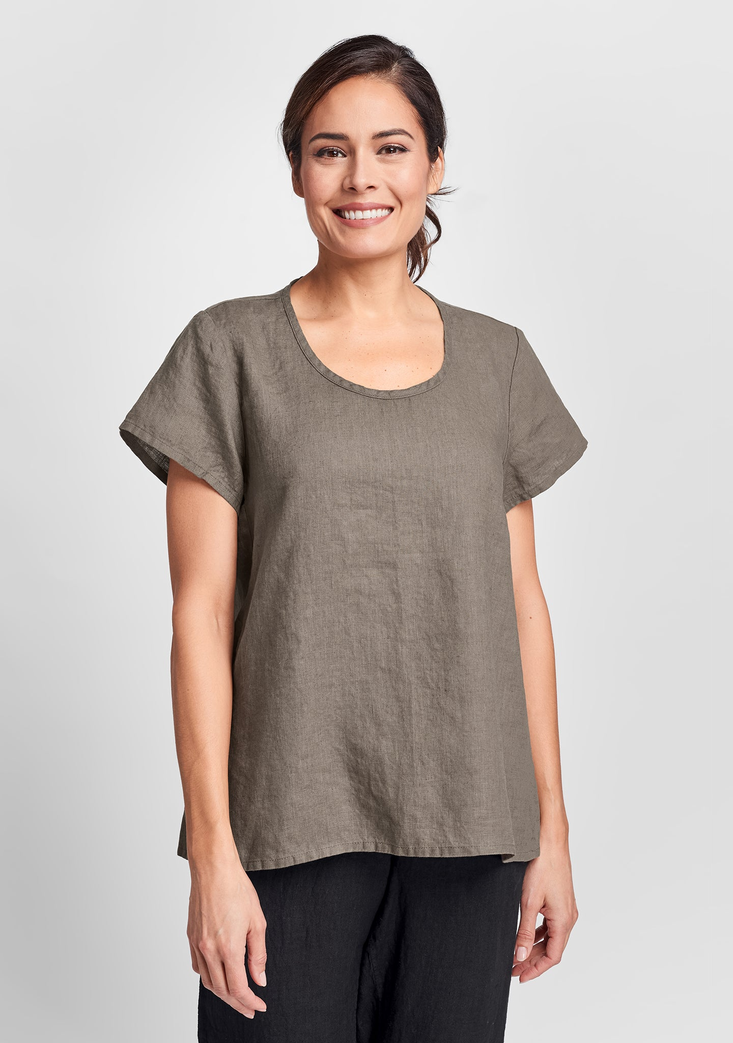 weightless tee linen t shirt brown