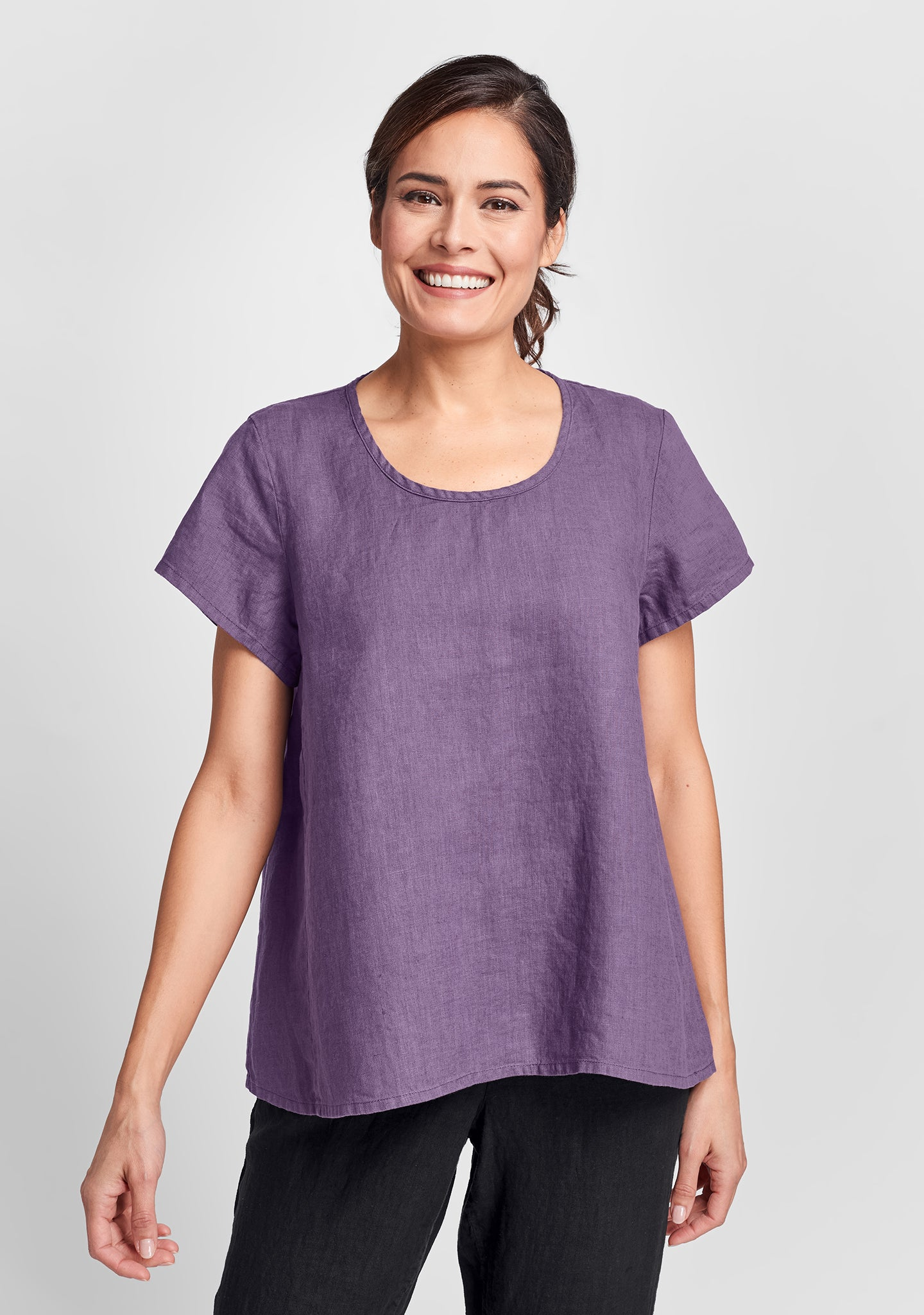 weightless tee linen t shirt purple