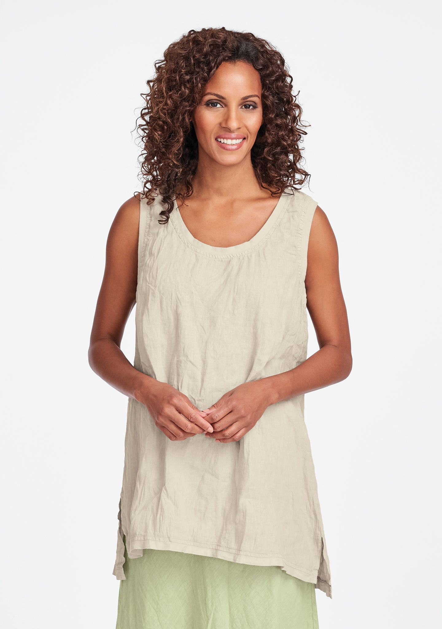 west side tunic linen tank top natural