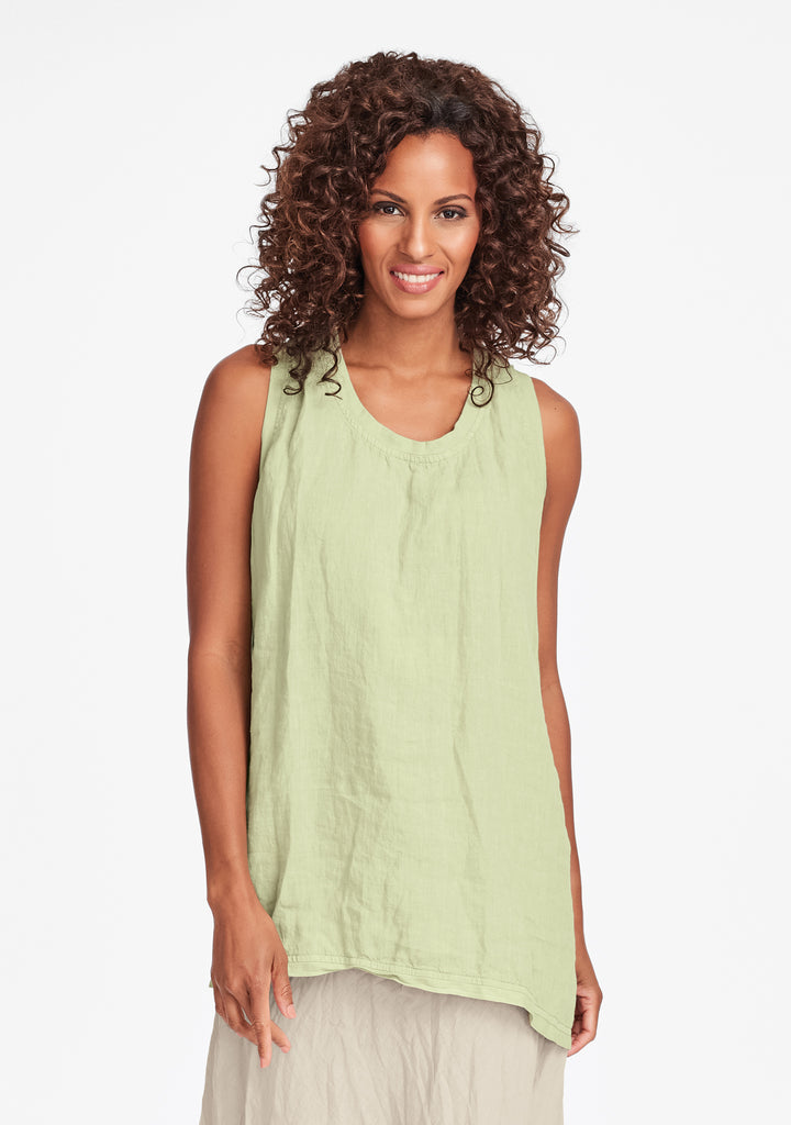 west side tunic linen tank top green