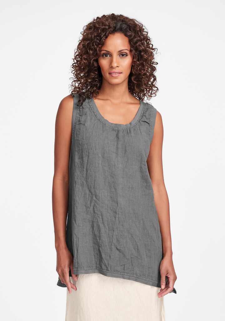 west side tunic linen tank top grey