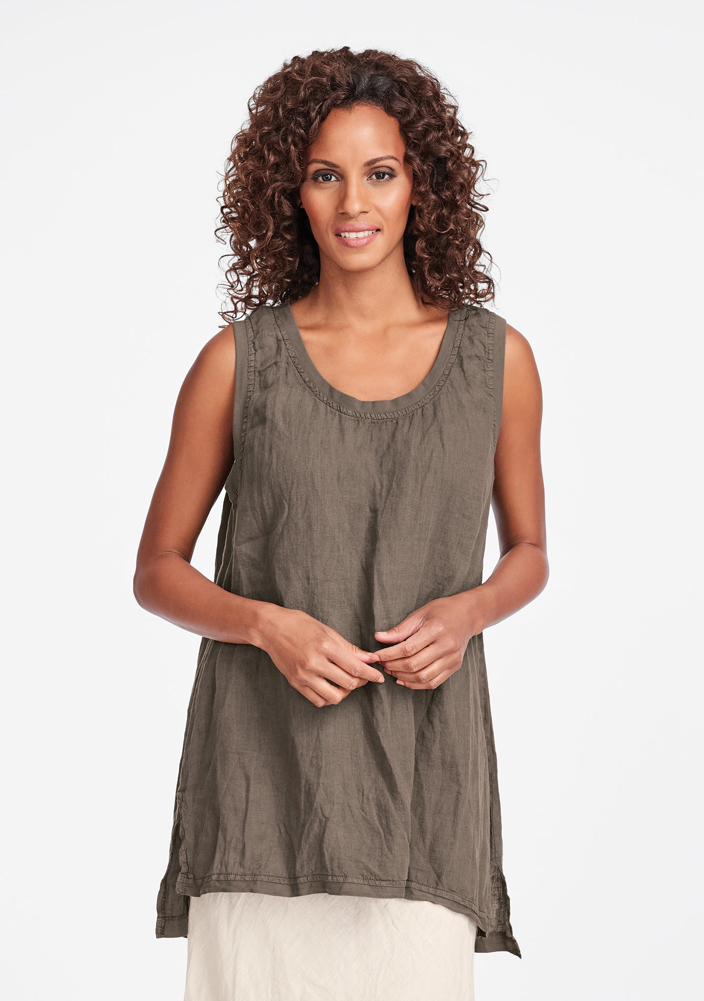 west side tunic linen tank top brown