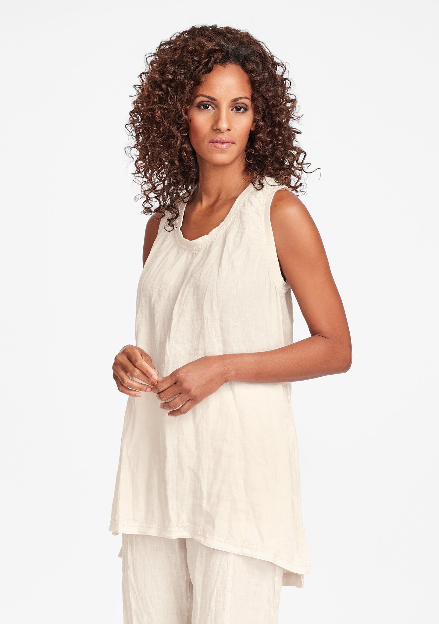 west side tunic linen tank top white
