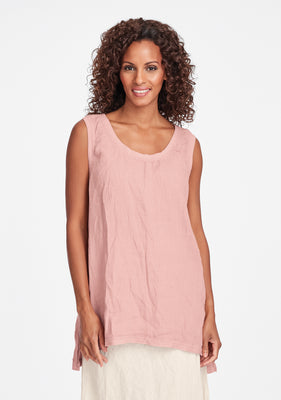 west side tunic linen tank top pink