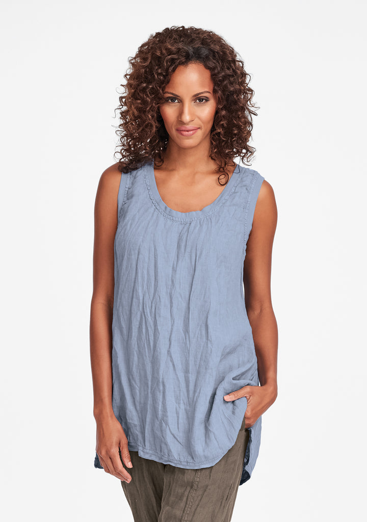 west side tunic linen tank top blue
