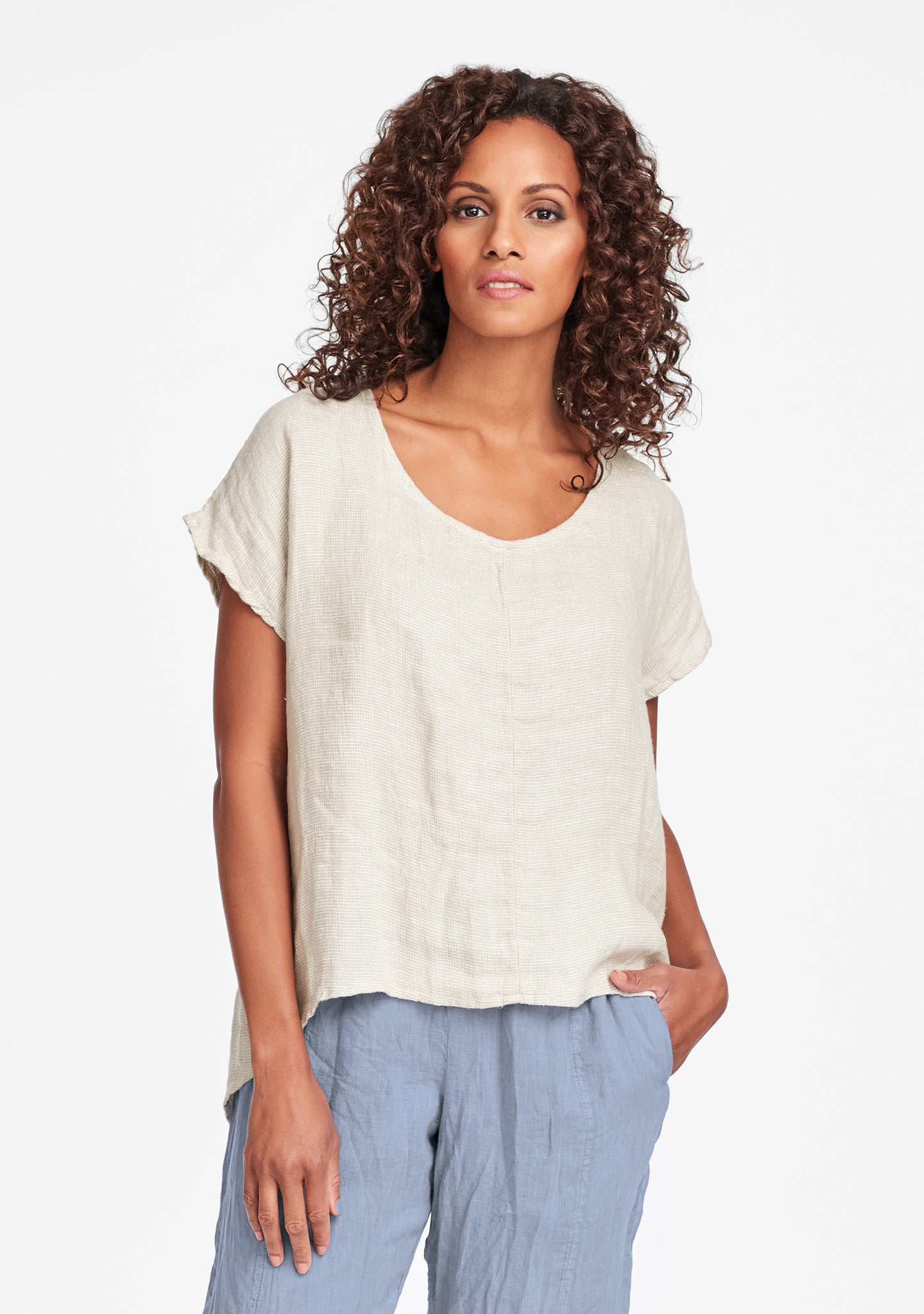 whisperer pullover linen t shirt natural