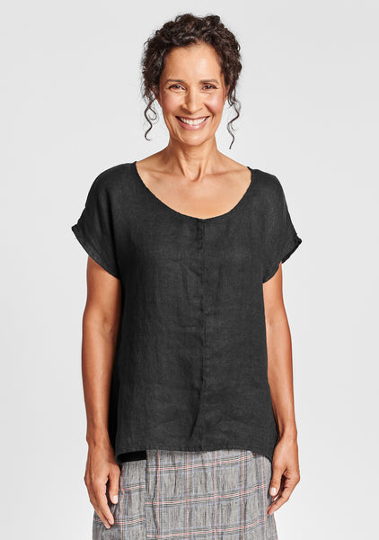 whisper pullover linen t shirt black