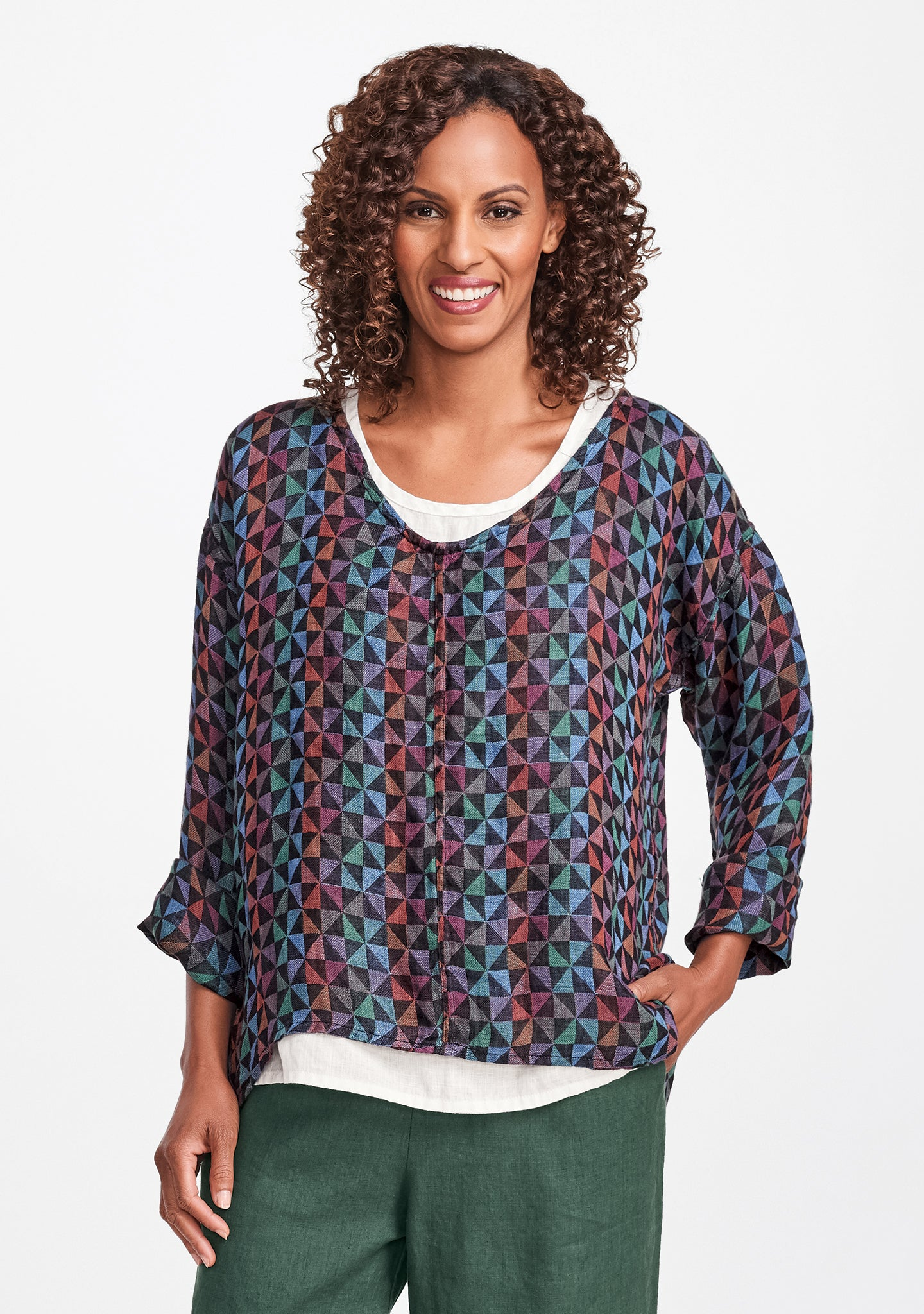 whisperer linen shirt multi