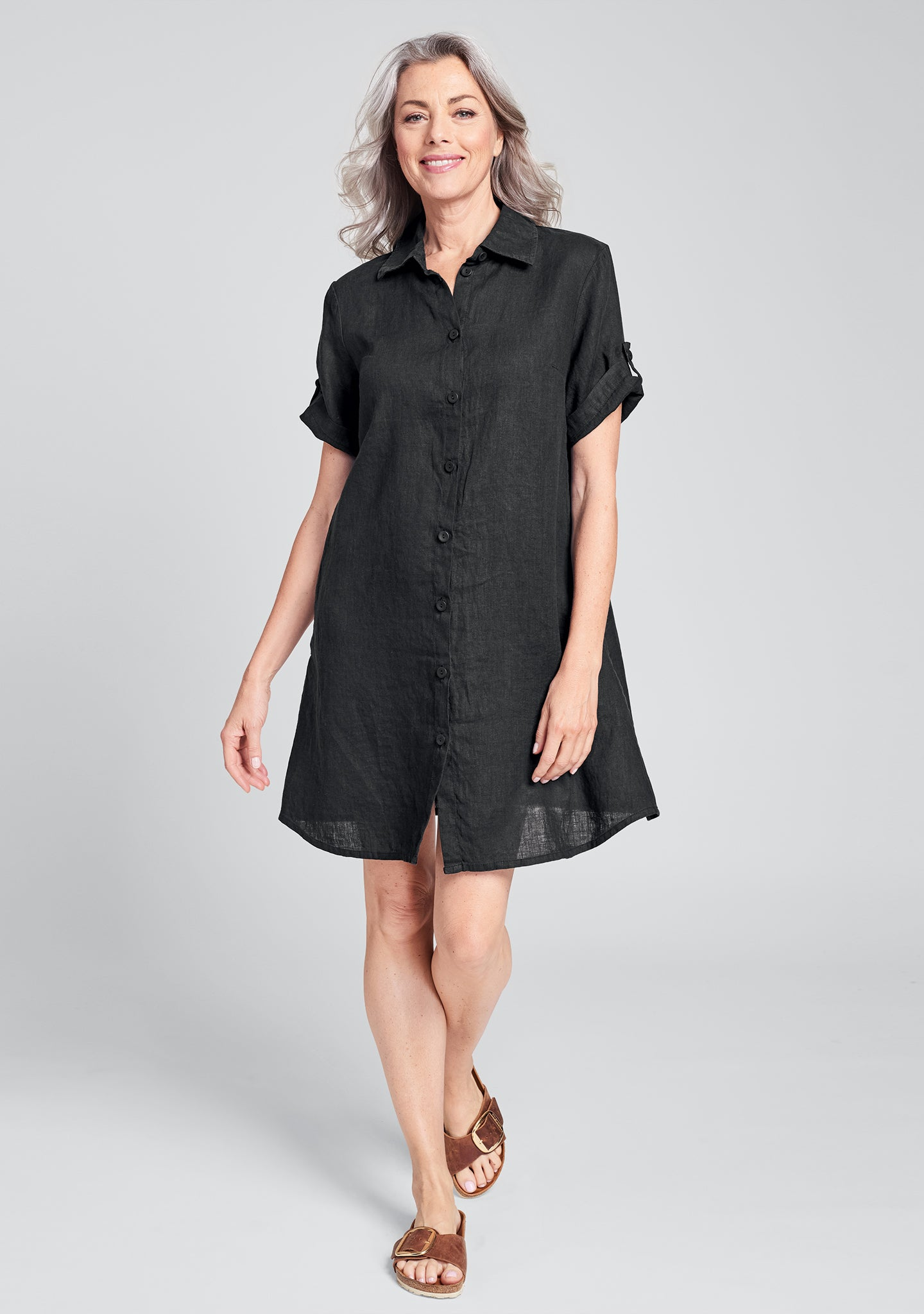work shirt dress linen shirt dress black