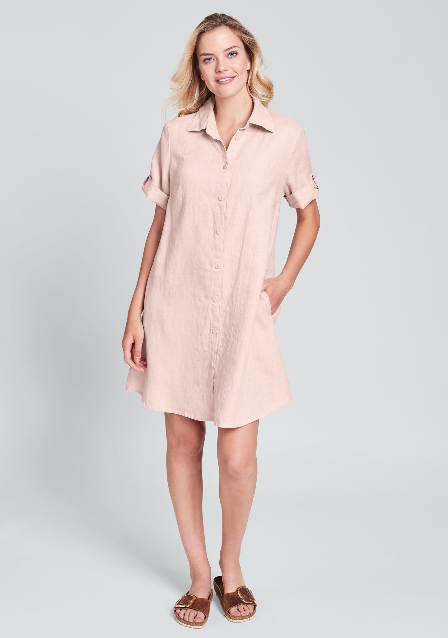 work shirt dress linen shirt dress pink