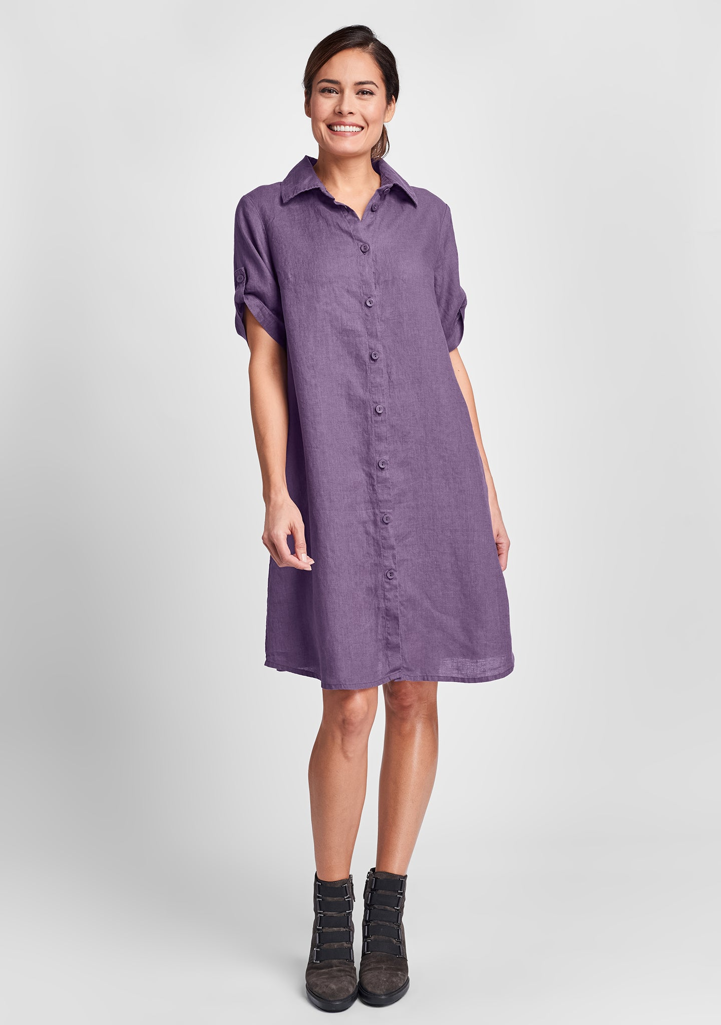 work shirt dress linen shirt dress purple