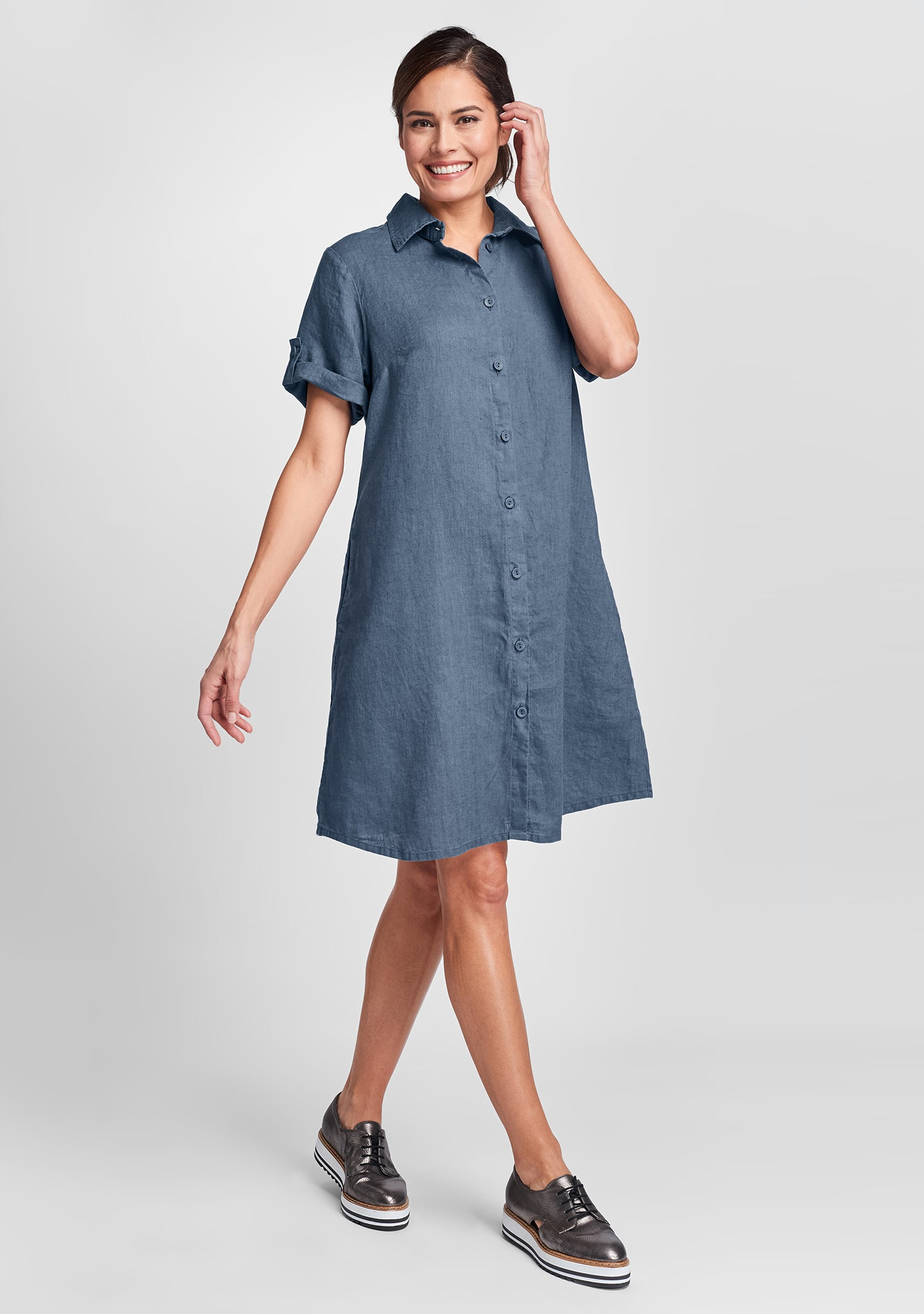 work shirt dress linen shirt dress blue