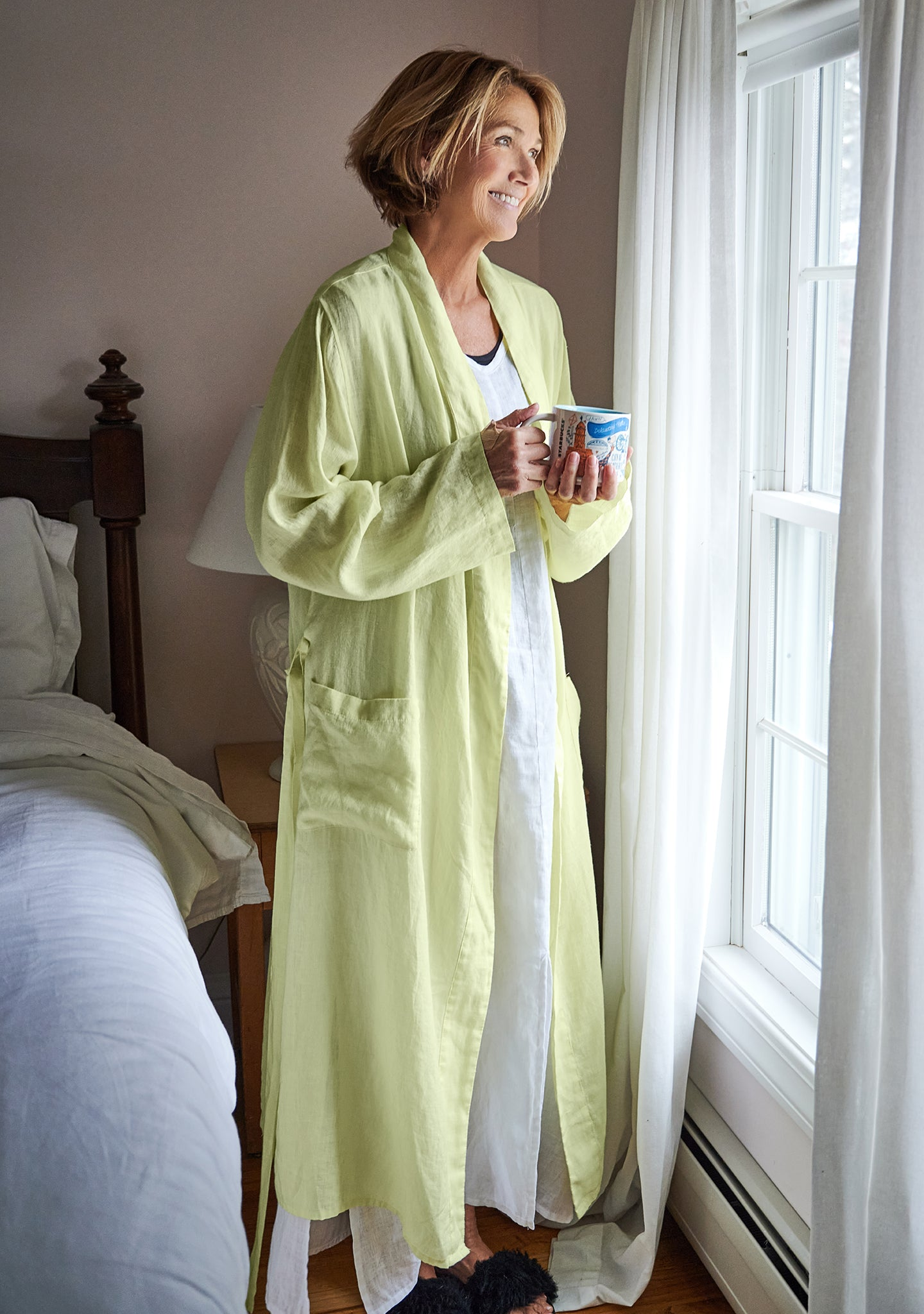 wrapper linen robe yellow