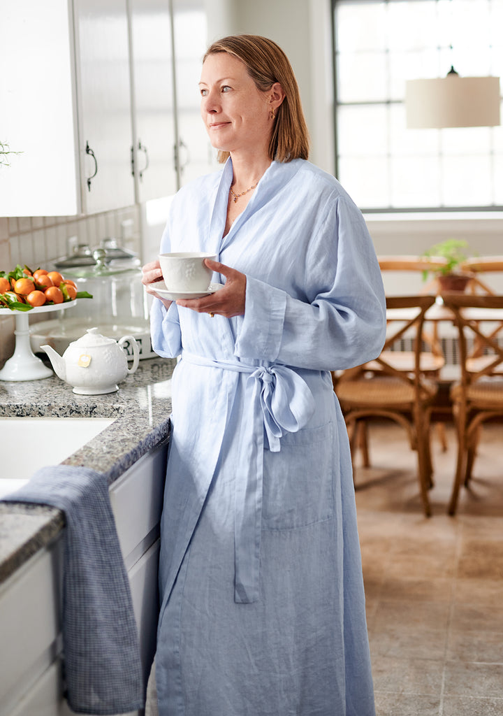 wrapper linen robe blue