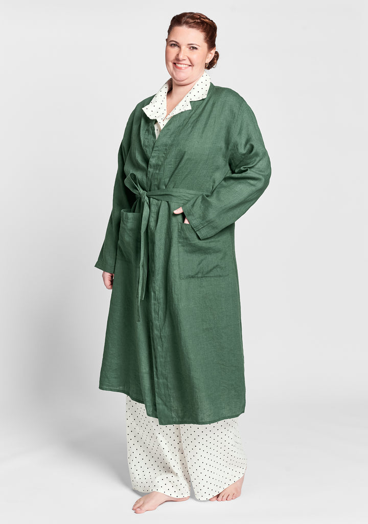 wrapper linen robe green