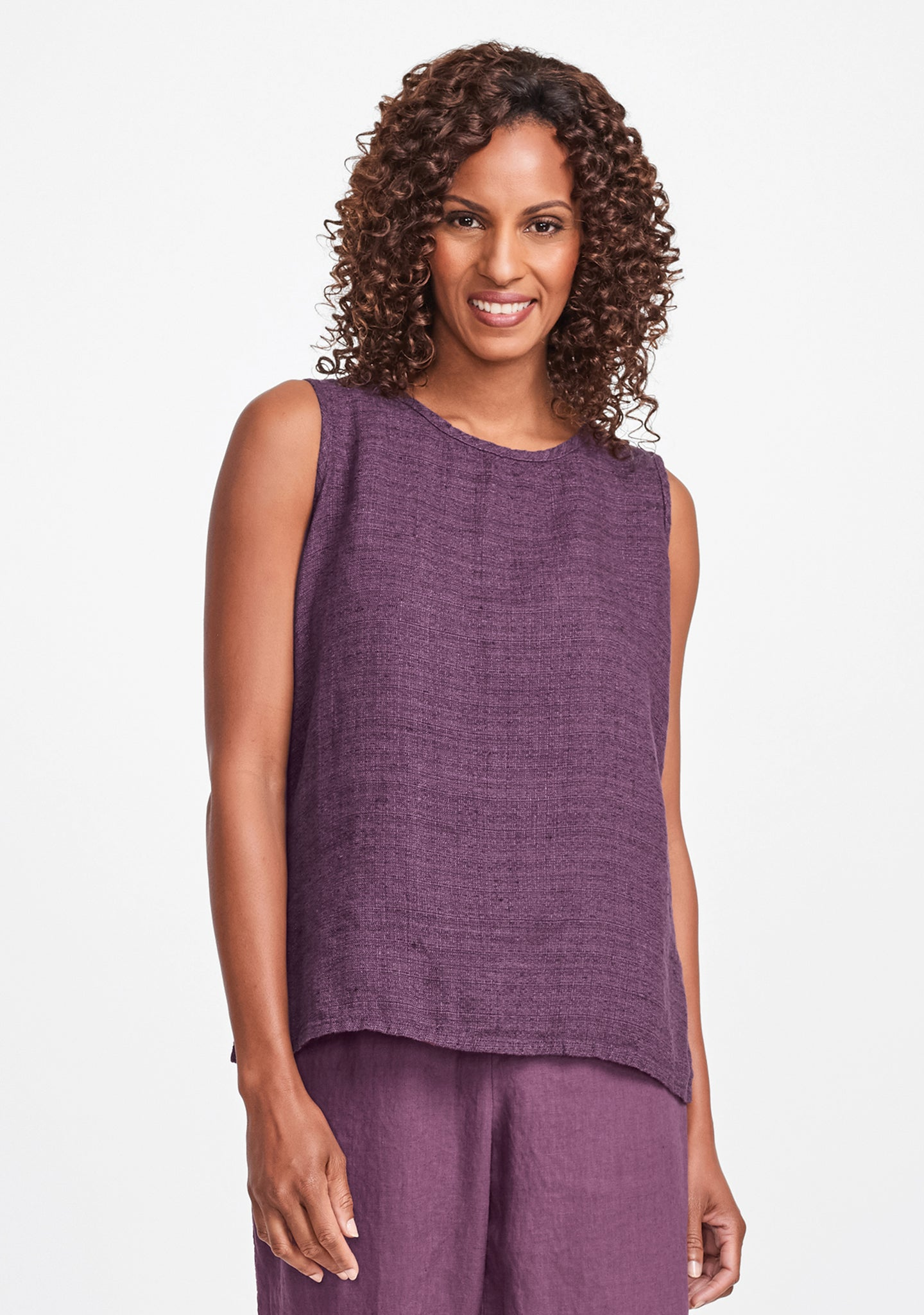 x-tank linen tank top purple