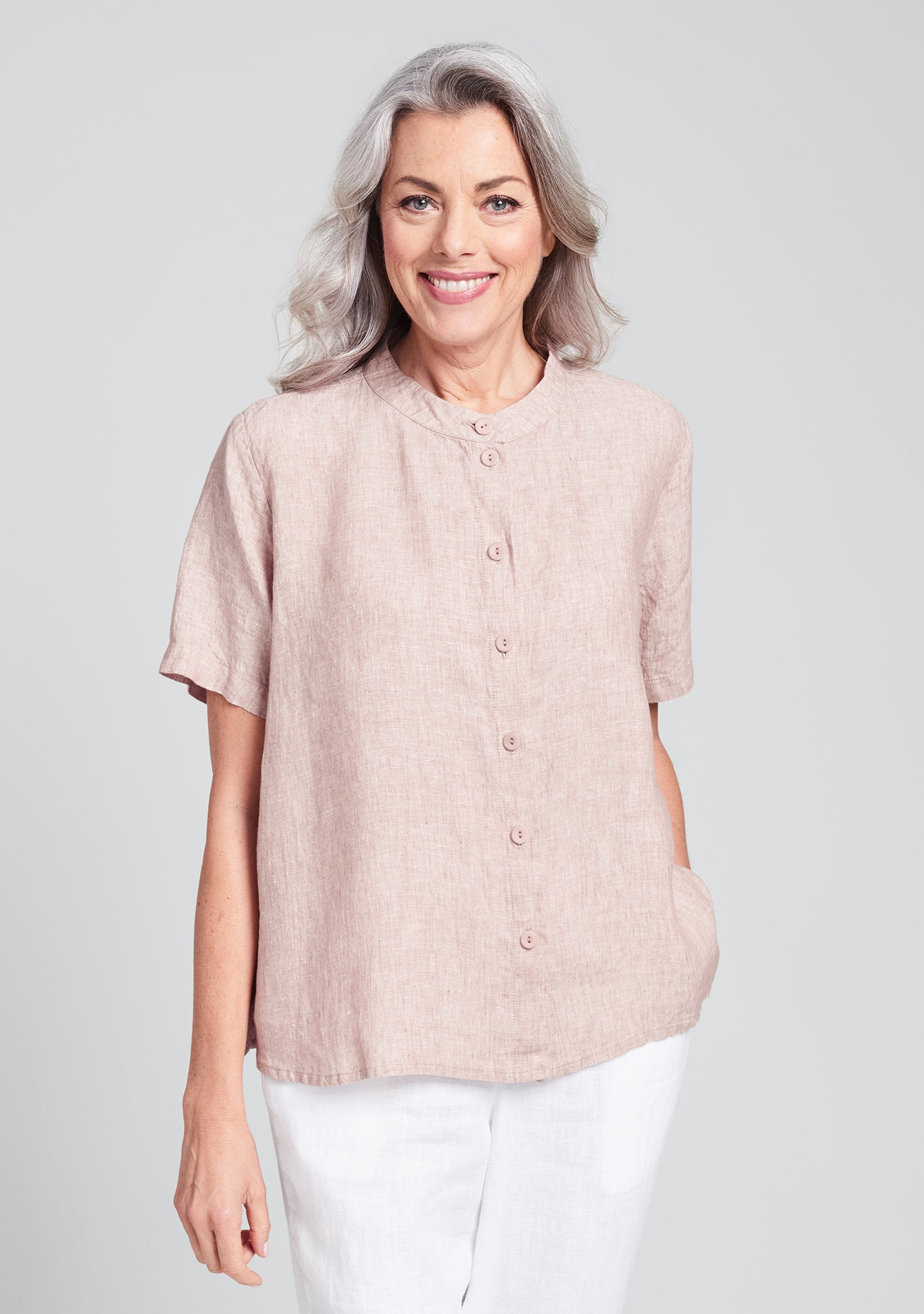 zdenka blouse linen button down shirt pink