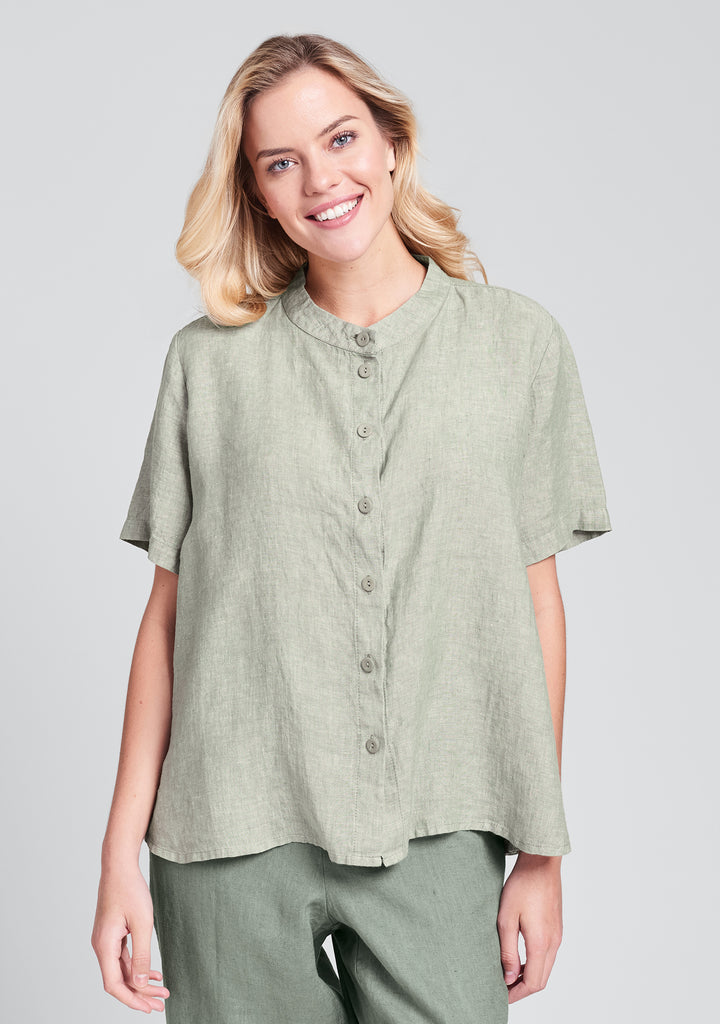 zdenka blouse linen button down shirt green