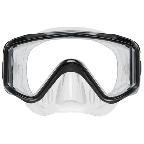Crystal Vu Plus Mask, Clear Skirt, Black Frame, No Purge