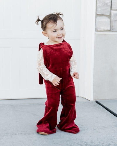Kellyn Bell Bottom Velour Suspender Jumpsuit - Scarlet