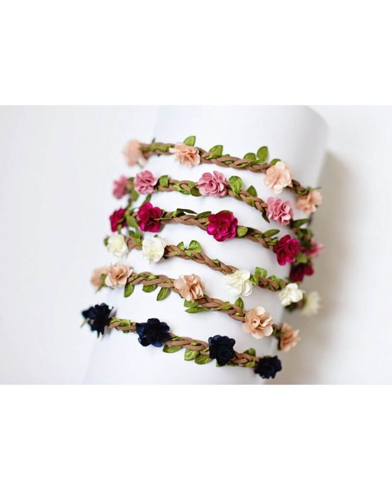 Deluxe Braided Leather Floral Headband - Bailey's Blossoms