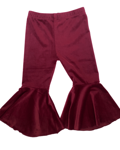 Lina Velour Pleated Bell Bottoms - Scarlet - Bailey's Blossoms