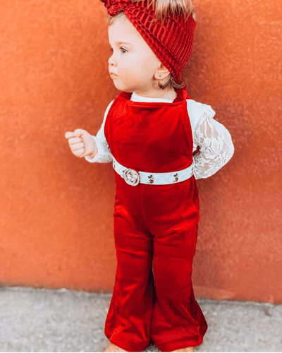 Kellyn Bell Bottom Velour Suspender Jumpsuit - Scarlet - Bailey's Blossoms