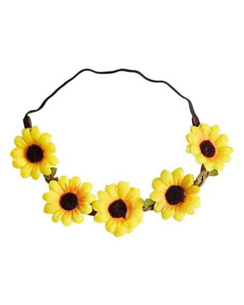 Sunflower Braided Leather Floral Headband - Bailey's Blossoms
