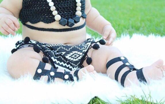 Gladiator Barefoot Baby Sandals - Black - Bailey's Blossoms